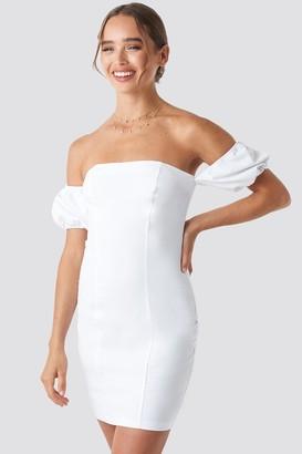 Celine & Talisa X NA-KD Off Balloon Shoulder Mini Dress White