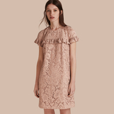 Burberry Short-length Lace Shift Dress with Ruffle Detail