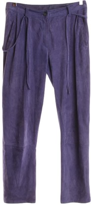 Utzon Purple Leather Trousers for Women