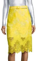 Carven Belted Lace Pencil Skirt