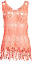 Pretty Angel Women's Tank Tops ORANGE(OR) - Orange Crochet Linen-Blend Tank - Women