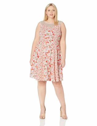 Gabby Skye Women's Plus Size Floral Print Dress W. Crochet Lace Illusion