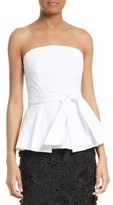 Milly Women's Kylie Strapless Stretch Poplin Peplum Top