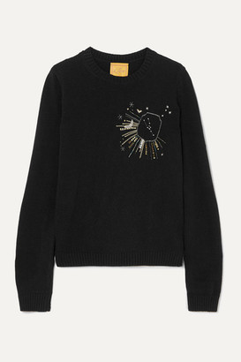 Le Lion - Taurus Embellished Embroidered Wool Sweater - Black