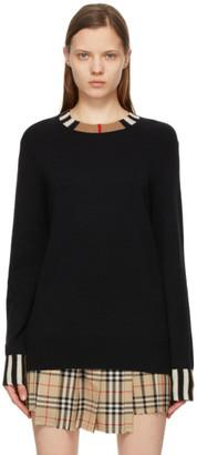 Burberry Black Cashmere Icon Stripe Trim Eyre Sweater
