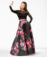 B. Darlin Juniors' Lace Printed-Skirt 2-Pc. Gown, a Macy's Exclusive Style
