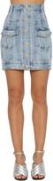 Balmain Stretch Cotton Denim Pencil Mini Skirt