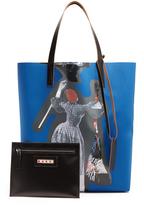 Marni Silhouette-print faux-leather tote