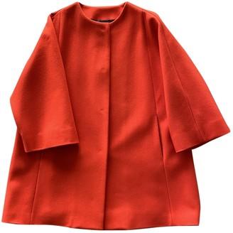 MSGM Orange Wool Coat for Women