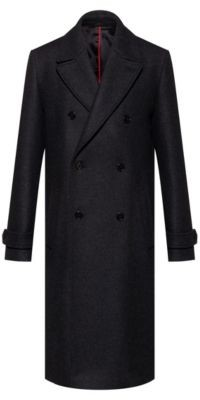 HUGO BOSS Long double-breasted coat in wool-blend twill