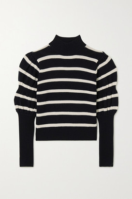 Derek Lam 10 Crosby Elani Cropped Striped Merino Wool Sweater - Black