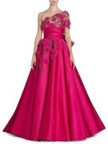 Marchesa One Shoulder Satin Gown