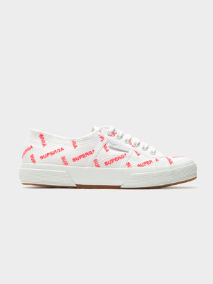 Superga Womens 2750 Cotuem Logo Sneakers in White Red Fluro