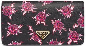 Prada Rose-Print Logo Patch Shoulder Bag
