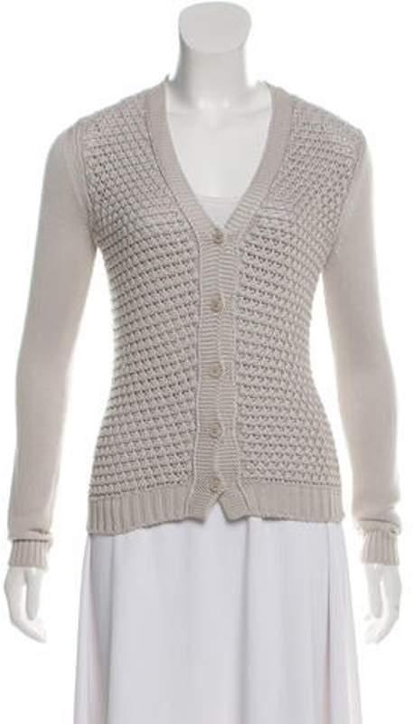 Loro Piana Silk-Blend V-Neck Knit Cardigan grey Silk-Blend V-Neck Knit Cardigan