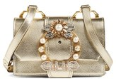 Miu Miu Madras Crystal Embellished Leather Shoulder Bag - Grey