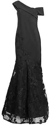 Teri Jon by Rickie Freeman Lace Applique Scuba Mermaid Gown