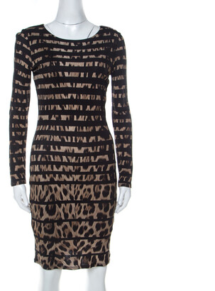 Roberto Cavalli Black Leopard and Stripe Print Stretch Long Sleeve Dress S