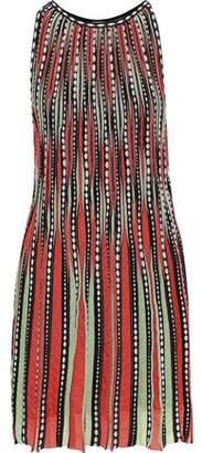 M Missoni Pleated Jacquard And Crochet-knit Mini Dress