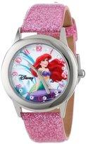 Disney Kids' W000955 Tween Ariel Stainless Steel Watch with Glitter Strap