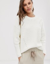 Selected round neck ribbed sweater