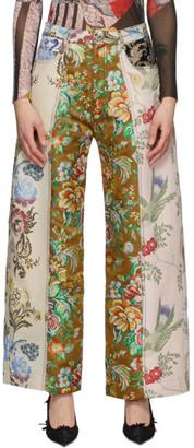 Marques Almeida Pink Floral Patchwork Boyfriend Trousers