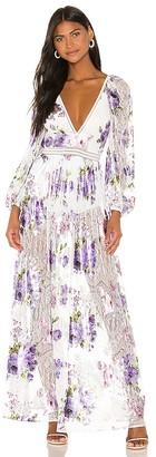 For Love & Lemons Wildflower Foil Lace Maxi Dress