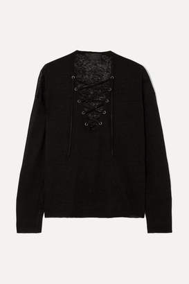 Nili Lotan Arabella Lace-up Linen Sweater - Black