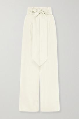 BONDI BORN + Net Sustain Fancy Belted Linen-twill Wide-leg Pants - Cream
