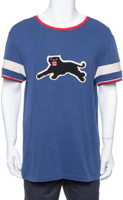 Gucci Blue Cotton Panther Applique Detail Oversized T Shirt XL