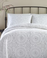 Jessica Simpson Cotton Medallion Gray Full/Queen Quilt