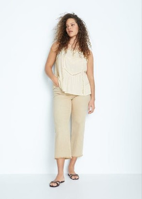 MANGO Violeta BY Embroidered open-work top off white - S - Plus sizes