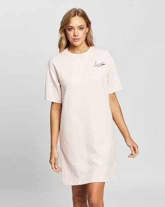 Lacoste Women's Pink T-Shirt Dresses - Graphic Double Face T-Shirt Dress - Size 36 at The Iconic