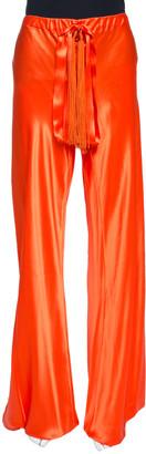 Roberto Cavalli Bright Orange Silk Elasticised Waist Pants M