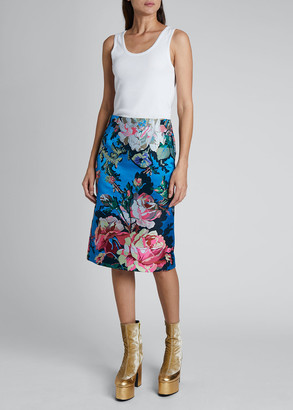 Dries Van Noten Salby Floral 19th Century Straight Skirt