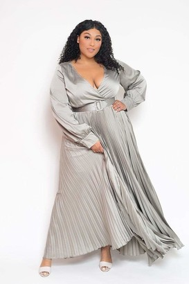 Buxom Couture Belted Surplice Pleated Maxi Dress in Silver Size 1X