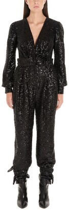 In The Mood For Love Amber Sequinned V-Neck Jumpsuit