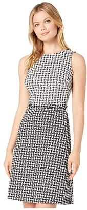 Lauren Ralph Lauren Abstract Jacquard Kira Sleeveless Day Dress (Black/White) Women's Clothing