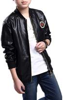 Monvecle Big Boy's Trendy Stand-Collar PU Leather Moto Jacket Coat Red 12-13 Years