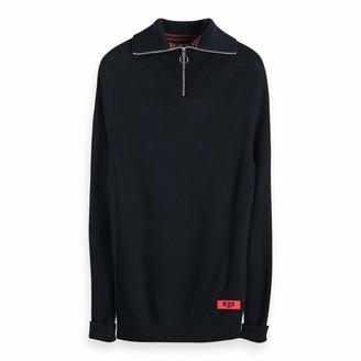 Scotch & Soda Men's Lightweight Rib Knit Pullover with High Zip-up Collar Vest