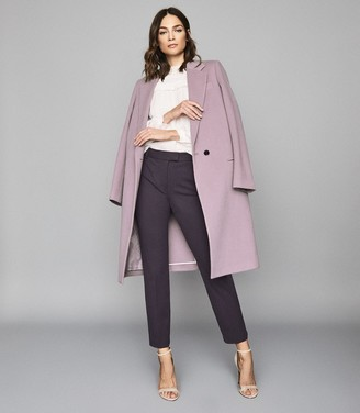 Reiss Joanne - Cropped Tailored Trousers in Plum