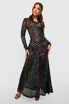 boohoo Boutique Mia Sequin & Mesh Maxi Dress