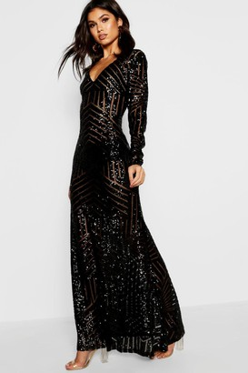boohoo Boutique Sequin Long Sleeve Maxi Bridesmaid Dress