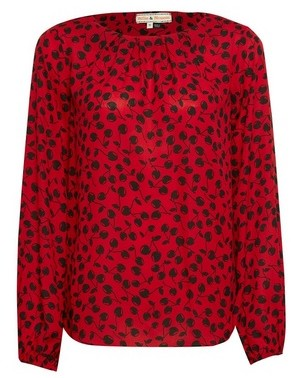Dorothy Perkins Womens **Billie & Blossom Red Cherry Print Pleat Neck Blouse, Red
