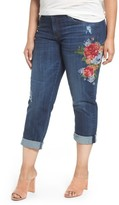 KUT from the Kloth Plus Size Women's Catherine Embroidered Boyfriend Jeans
