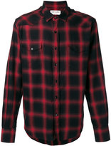 Saint Laurent Signature Yves collar plaid shirt