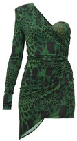 Alexandre Vauthier Lynx-print One-shoulder Mini Dress - Womens - Green Print