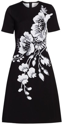 Carolina Herrera Floral Jacquard Short Sleeve Dress