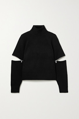 Michael Kors Zip-embellished Cashmere Turtleneck Sweater - Black