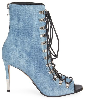 Balmain Club Denim Peep-Toe Booties